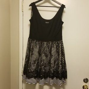 NWT City Chic - Stripe Lace Skater Dress - 14
